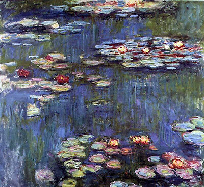 Dream-art Oil painting Claude Monet - Water-Lilies flowers in pond on canvas art