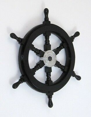 "18"" Black Ship Wheel ~ Wood / Chrome ~ Nautical Maritime Wall Decor"