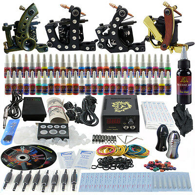 Complete Tattoo Kits 4 Pro Machine Guns Set 54 Inks Power Supply Needle Grips