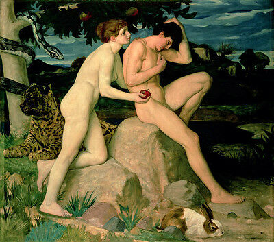 Huge Oil painting nude girl and nude man - Adam and Eve & snake rabbit lion....