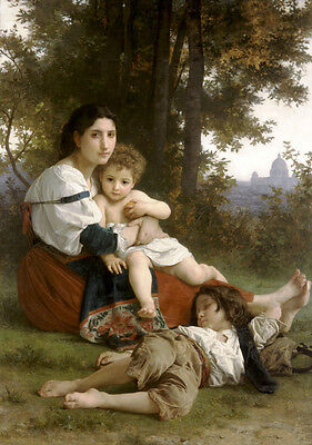 Oil painting Bouguereau - Young lady mother with children have a rest in field