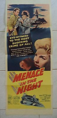 "MENACE IN THE NIGHT 1957 VINTAGE US INSERT POSTER 36""x14"""