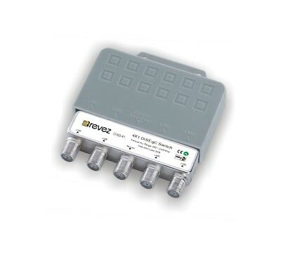 Revez 4 x 1 Way DiSEqC Satellite Switch in Outdoor Cover ( 4/1 , 4 in 1)