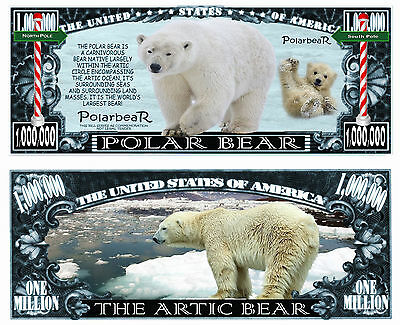 Ours Blanc Billet 1 Million Dollar Us ! Collection Animal Polaire Ourson Animaux