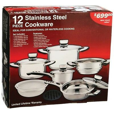 New Chef's Secret 12 pc 9-Ply Heavy-Gauge Stainless Steel Cookware Set