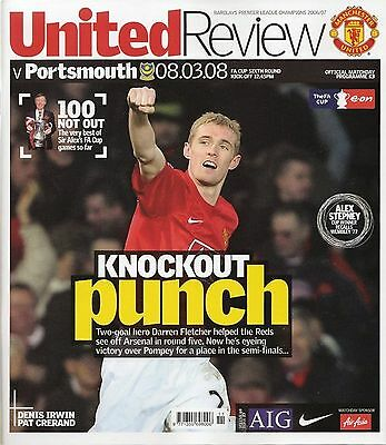 MANCHESTER UNITED v PORTSMOUTH FA Cup 6th Round 2007/08 MINT