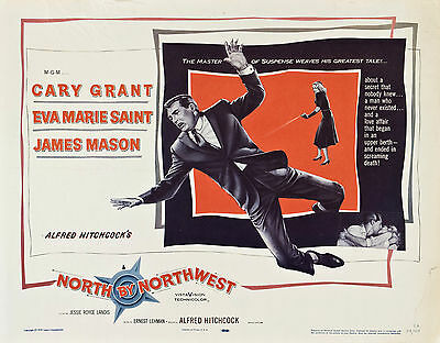 """""""NORTH BY NORTHWEST"""" (Cary Grant) Full Set of 8 Lobby Cards - NEW & SEALED"""