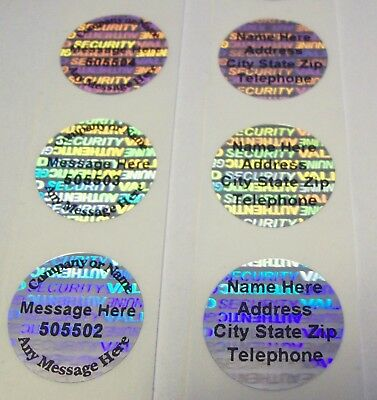 "100 SWL SVAG 3/4"" Round Custom Print Hologram Sticker Label Tamper Evident Seals"