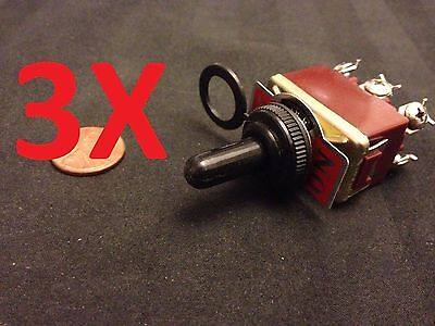 """3x waterproof DPDT Momentary-Off-Momentary ON/OFF/ON Toggle Switches 15A 1/2"""""""