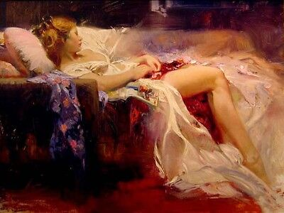 Oil painting female portrait sweet-repose girl sleeping on sofa Hand painted