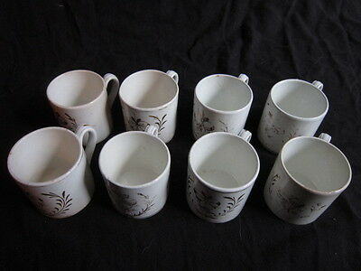Xix Suite De 8 Tasses Viellard Bordeaux Blanc Et Or