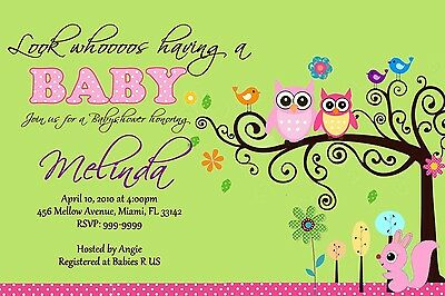 Sweet Owl Girl Baby Shower Invitation 24hr Service UPRINT 4x6 or 5x7