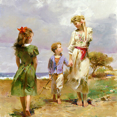 Oil painting nice young mother with children little girl and boy in landscape