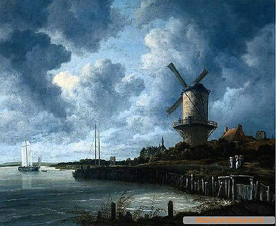 Perfect Oil painting nice harbor landscape & sail boats Windmill before storm