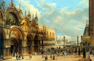 Art Oil painting Carlo Grubacs - Cathedral Mark's City Square & grand buildings
