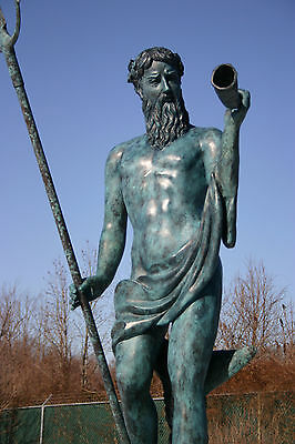 "BRONZE NEPTUNE POSEIDON 72"" fountain dolphin Greek Roman Mythology God of Sea"