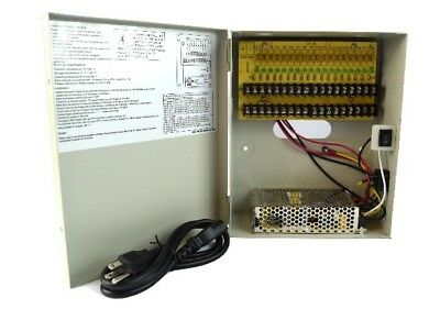 18 Channel Distributed Power Supply Box PTC Output 12V DC 10 Amps CCTV