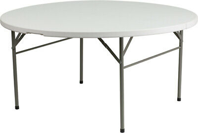 60'' Round Bi-Fold Plastic Folding Table - Commercial Quality Banquet Tables