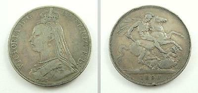 Great Britain 1890 Silver Crown Coin - Queen Victoria - Jubilee Coinage