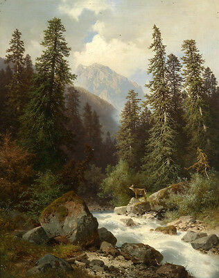 Dream-art Oil painting wild animal deer by the stream in the mountains canvas