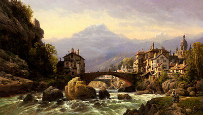 Huge Oil painting Charles Euphrasie Kuwasseg - An Alpine Village by river bridge