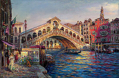 """Huge Oil painting cityscape of Venice with bridge over the canal canvas 24""""x36"""""""