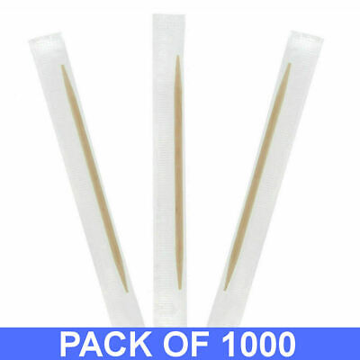 1000 Wooden Toothpicks Quill Individually Paper Wrapped Cocktail Sticks Catering