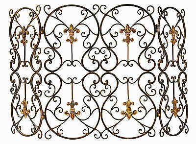 "Fireplace Screens - ""French Quarter"" Decorative Fireplace Screen - Fleur De Lis"