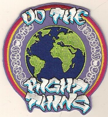 "Patch  ""SAVE THE EARTH"" - ""DO THE RIGHT THING""  embroidered emblem, size 4"""