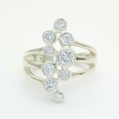 925 Sterling Silver Ladies Wide Clear Stone Dress Ring