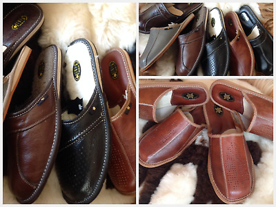 New Mens Brown Leather Slippers Shoes Garden Home Black Sandal Luxury Flip-Flop