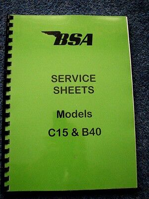 BSA Factory Service Sheets Set, Workshop Manual for C15 and B40 1958-1973 BW07
