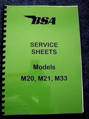 BSA WORKSHOP MANUAL Factory Service Sheets for M20, M21 & M33 1948 - 1963 - BW02