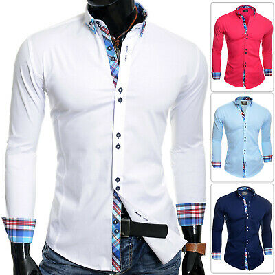 Italian Design Shirt Casual Formal Classic Collar Slim Fit White Blue Pink Navy