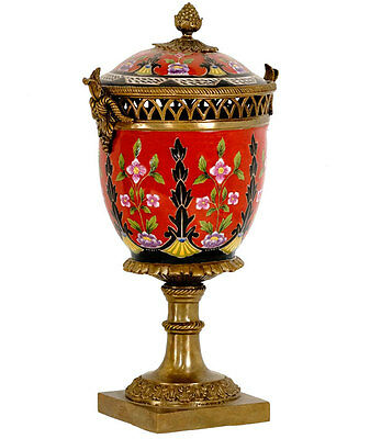 Pot-Pourri Brule Parfum En Porcelaine Rouge Bronze Faience Recipient