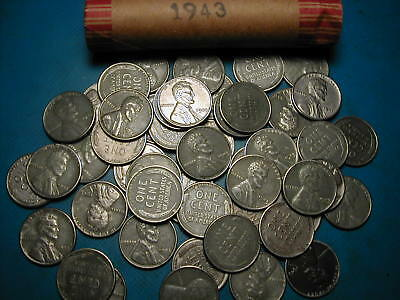 1943-P Lincoln Steel Cent Penny Roll 'free Shipping""