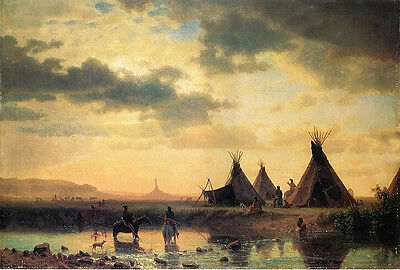 """Perfect Oil painting Horsemen with Tent  wigwam by river in sunset canvas 36"""""""