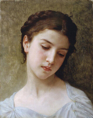 Stunning Oil painting Bouguereau - Head Of A Young Girl in white dress canvas