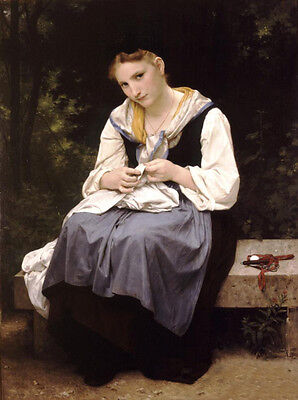 Stunning Oil painting Bouguereau - Young Worker nice beauty girl in landscape