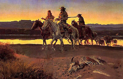 Oil painting horseman cowboys in sunset landscape with Animal bones canvas brook