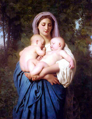 """Stunning Oil painting Bouguereau - Charity Young woman with children in view 36"""""""