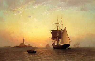Rare Oil painting Francis A. Silva - Harbor Scene & sail boats in sunset ocean