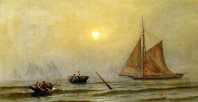 Oil painting Francis A. Silva - A Foggy Day with sail boats sunrise canvas