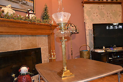 "Antique English ""Messenger"" Parlor Oil Lamp, Brass/Glass Font, Etched Shade, 783"