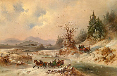 Nice Oil painting Horse-drawn sleigh in snow winter landscape in sunset canvas