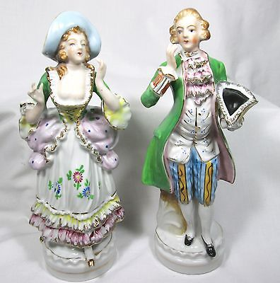 PRETTY VICTORIAN COUPLE OCCUPIED JAPAN HAND PAINTED FIGURINES GOLD TRIM