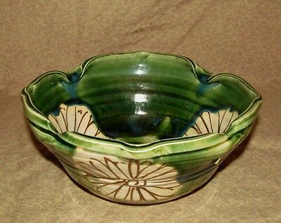 REDUCED! Antique Japanese Oribe Pottery Bowl Signed