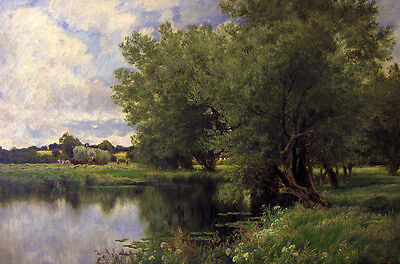 Art Oil painting John Clayton Adams Haymaking on the Thames river in landscape