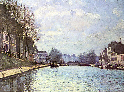 Stunning Oil painting Alfred Sisley - Vue du canal Saint-Martin impressionism