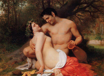Oil William-Adolphe Bouguereau - Faun and Bacchante nude lovers in forest canvas